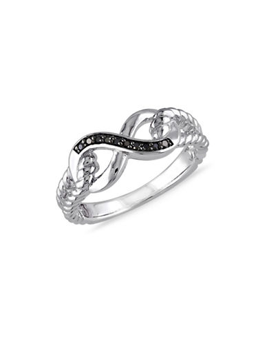 Concerto 0.05 TCW Black Diamond Two-Tone Infinity Ribbed Band Ring-DIAMOND-9