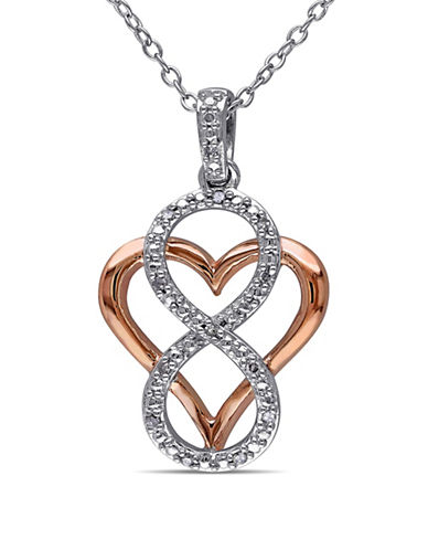 Concerto Diamond Two-Tone Infinity Overlay Heart Necklace-DIAMOND-One Size
