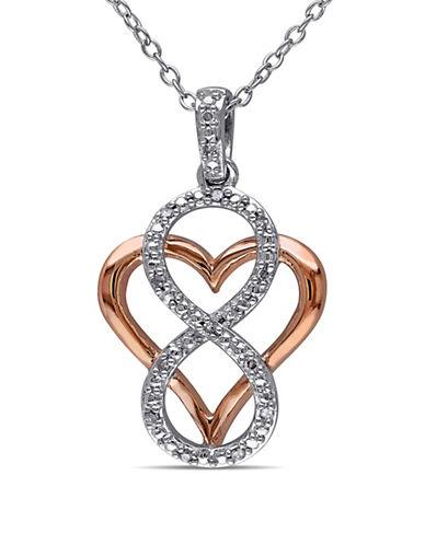 Concerto Diamond Two-Tone Infinity Overlay Heart Necklace-DIAMOND-One Size
