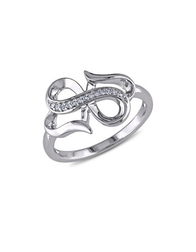 Concerto Diamond and Sterling Silver Double Infinity Heart Ring-DIAMOND-5