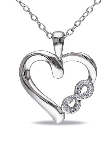 Concerto Diamond Accent Sterling Silver Heart Necklace-DIAMOND-One Size