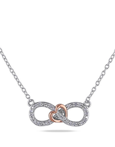 Concerto Two-Tone Diamond Infinity Knot Necklace-DIAMOND-One Size