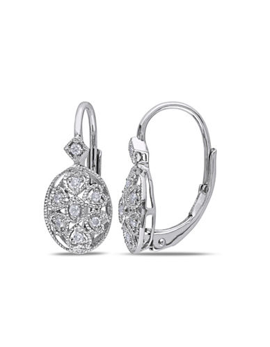 Concerto 0.11TCW Diamond Sterling Silver Vintage Leverback Earrings-DIAMOND-One Size