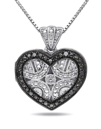 Concerto .06 CT Black Diamond and Sterling Silver Locket Heart Necklace-DIAMOND-One Size