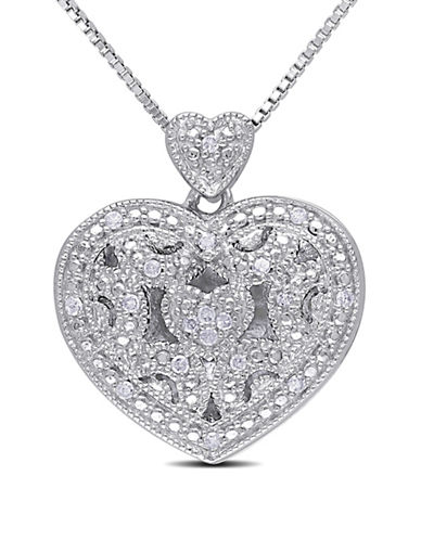 Concerto .08 CT Diamond and Sterling Silver Locket Heart Necklace-DIAMOND-One Size