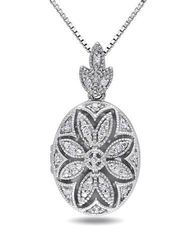Concerto .10 CT Diamond and Sterling Silver Floral Locket Necklace-DIAMOND-One Size