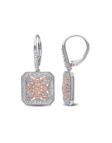 Concerto 0.25 TCW Diamond and Two-Tone Sterling Silver Floral Earrings-DIAMOND-One Size