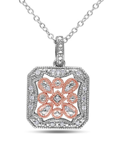 Concerto 0.1 TCW Diamond and Two-Tone Sterling Silver Vintage Necklace-DIAMOND-One Size