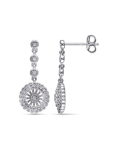 Concerto .25 CT Diamond and Sterling Silver Vintage Drop Earrings-DIAMOND-One Size