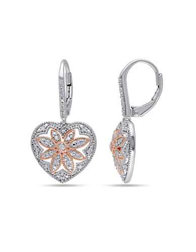 Concerto Diamond and Sterling Silver Vintage Heart Earrings-DIAMOND-One Size