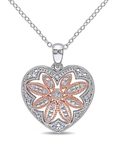 Concerto 0.10TCW Diamond Two-Tone Sterling Silver Heart Necklace-DIAMOND-One Size