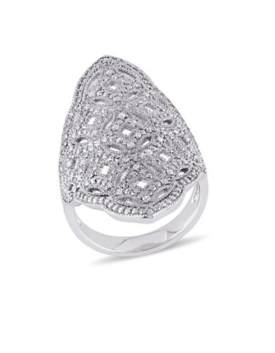 Concerto Diamond and Sterling Silver Vintage Ring-DIAMOND-8 plus size,  plus size fashion plus size appare