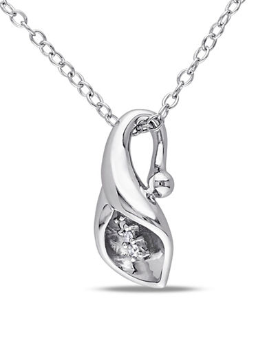 Concerto Diamond and Sterling Silver Calla Lily Flower Necklace-DIAMOND-One Size