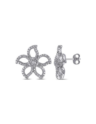 Concerto 0.125 TCW Diamond Sterling Silver Flower Earrings-DIAMOND-One Size