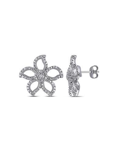 Concerto 0.125 TCW Diamond Sterling Silver Flower Earrings-DIAMOND-One Size