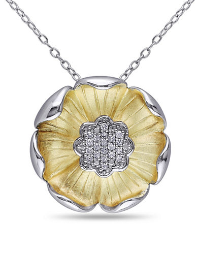 Concerto 0.1 TCW Diamond and Two-Tone Sterling Silver Flower Necklace-DIAMOND-One Size