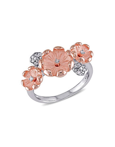 Concerto 0.05TCW Diamond Two-Tone Flower Ring-DIAMOND-7