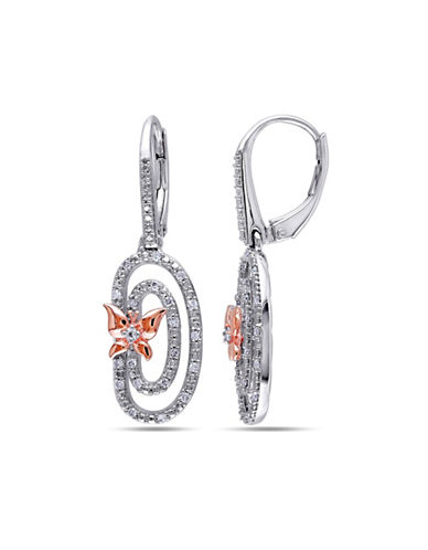 Concerto 0.2 TCW Diamond and Two-Tone Sterling Silver Butterfly Earrings-DIAMOND-One Size