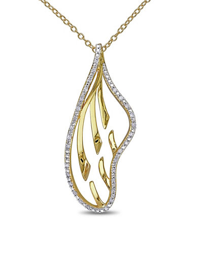Concerto 0.167 TCW Diamond and Yellow Plated Sterling Silver Necklace-DIAMOND-One Size