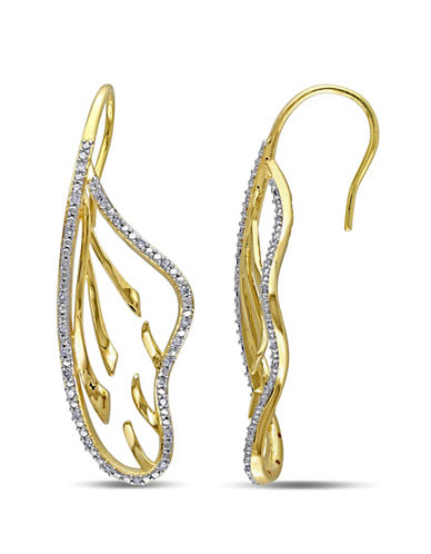 Concerto 0.25 TCW Diamond and Yellow Plated Sterling Silver Earrings-DIAMOND-One Size