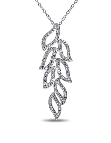 Concerto 0.2 TCW Diamond and Sterling Silver Leaf Outline Necklace-DIAMOND-One Size