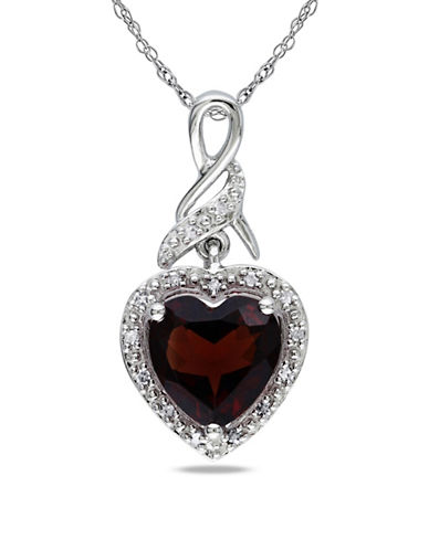 Concerto Garnet Diamond and Sterling Silver Heart Pendant-GARNET-One Size