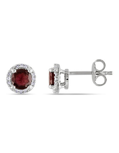 Concerto Garnet Diamond and Sterling Silver Stud Earrings-GARNET-One Size