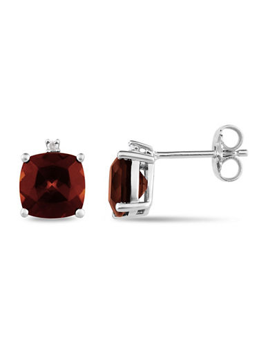 Concerto Cushion Cut Garnet and Sterling Silver Stud Earrings-GARNET-One Size