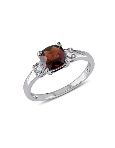Concerto Garnet and Square Diamond Accent Sterling Silver Ring-GARNET-5