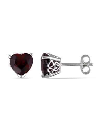 Concerto Garnet and Sterling Silver Heart Stud Earrings-GARNET-One Size