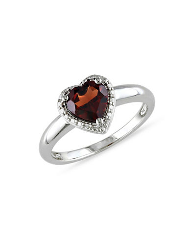 Concerto Garnet and Sterling Silver Heart Ring-GARNET-9