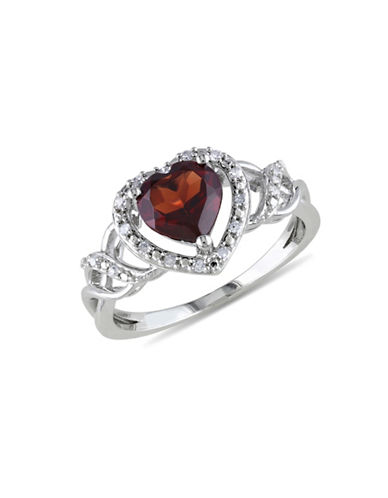 Concerto Garnet Diamond and Sterling Silver Heart Ring-GARNET-7