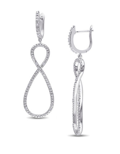 Concerto Sterling Silver and 0.10 Total Carat Weight Diamond Infinity Earrings-DIAMOND-One Size