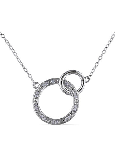 Concerto Sterling Silver Circle and 0.10 Total Carat Weight Diamond Necklace-DIAMOND-One Size