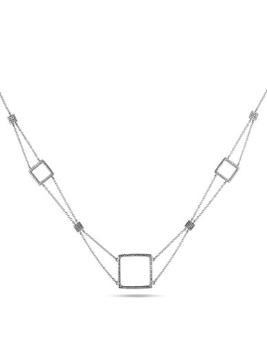 Concerto Sterling Silver Square Station 0.10 TCW Diamond Necklace-DIAMOND-One Size