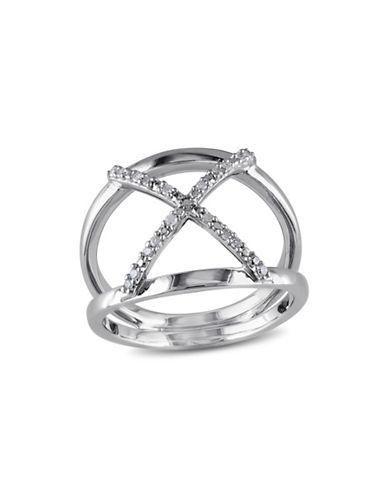 Concerto Sterling Silver Pave X 0.10 TCW Diamond Ring-DIAMOND-5