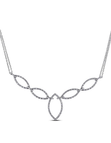 Concerto Sterling Silver Pear 0.10 TCW Diamond Necklace-DIAMOND-One Size
