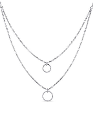 Concerto Sterling Silver Circle Necklace Layered 0.10 TCW Diamond Necklace-DIAMOND-One Size