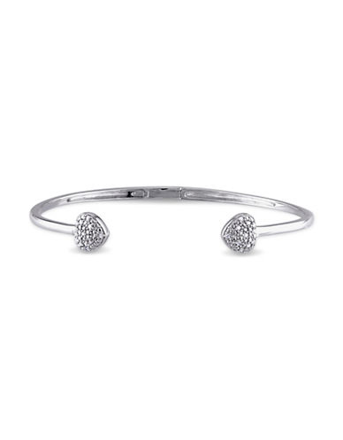 Concerto Sterling Silver Heart 0.10 TCW Bangle Bracelet-DIAMOND-One Size