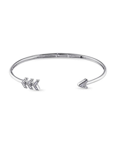 Concerto Sterling Silver Bangle Arrow 0.10 TCW Diamond Bracelet-DIAMOND-One Size