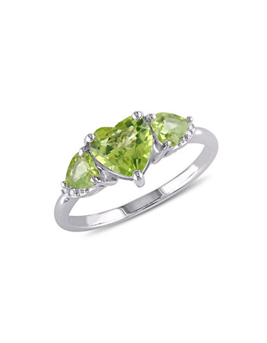 Concerto 0.02TCW Diamond Accent Peridot Heart Ring-PERIDOT-7