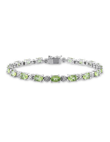Concerto Sterling Silver and 0.02 TCW Diamond and Peridot Bracelet-PERIDOT-One Size