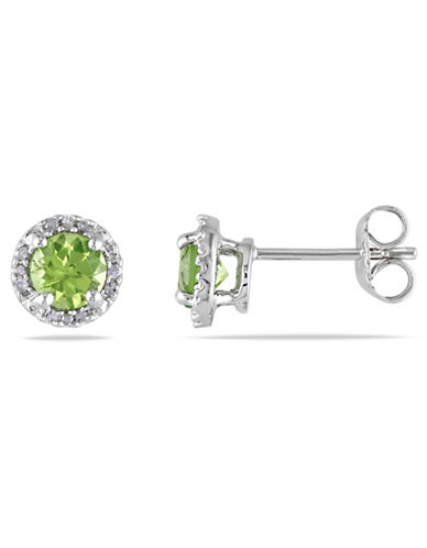 Concerto Sterling Silver and 0.07 TCW Diamond and Peridot Stud Earrings-PERIDOT-One Size