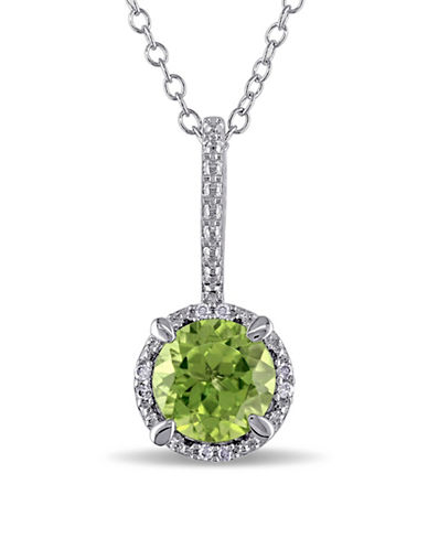 Concerto Sterling Silver and 0.03 TCW Diamond and Peridot Necklace-PERIDOT-One Size