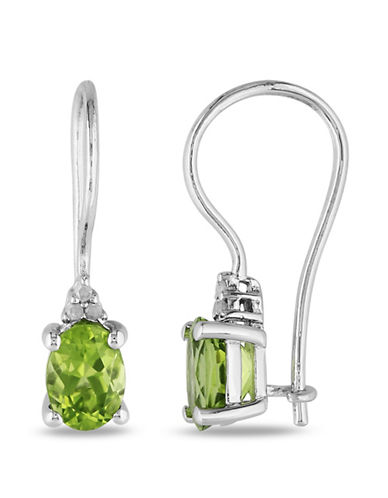 Concerto Sterling Silver and  0.1 TCW Diamond and Peridot Earrings-PERIDOT-One Size