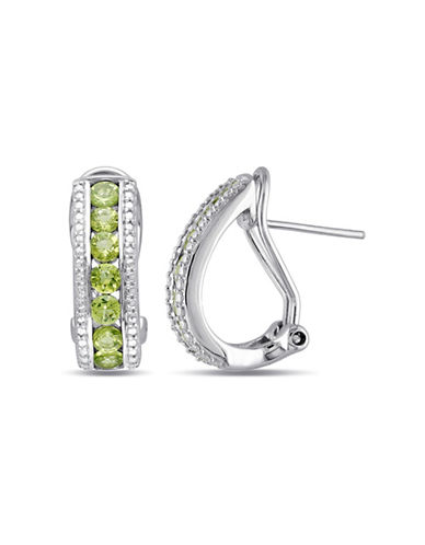 Concerto Sterling Silver and Peridot Half-Hoop Earrings-PERIDOT-One Size