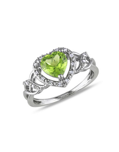 Concerto 0.1TCW Diamond and Peridot Heart Ring-PERIDOT-7