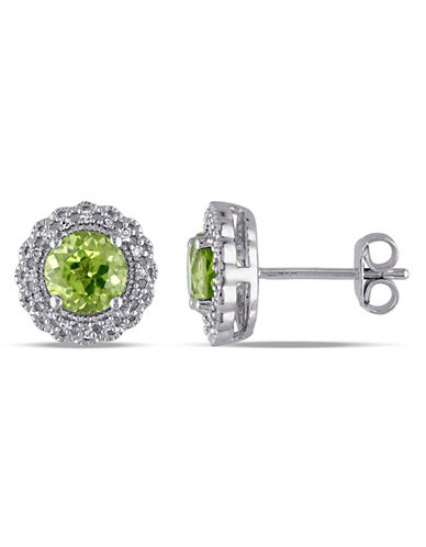 Concerto Sterling Silver and  0.1 TCW Diamond and Peridot Stud Earrings-PERIDOT-One Size
