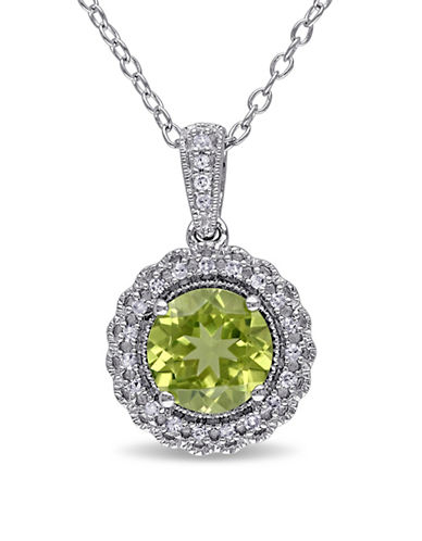 Concerto Sterling Silver and 0.1 TCW Diamond and Peridot Necklace-PERIDOT-One Size