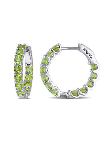 Concerto Sterling Silver and Peridot Hoop Earrings/0.8-PERIDOT-One Size